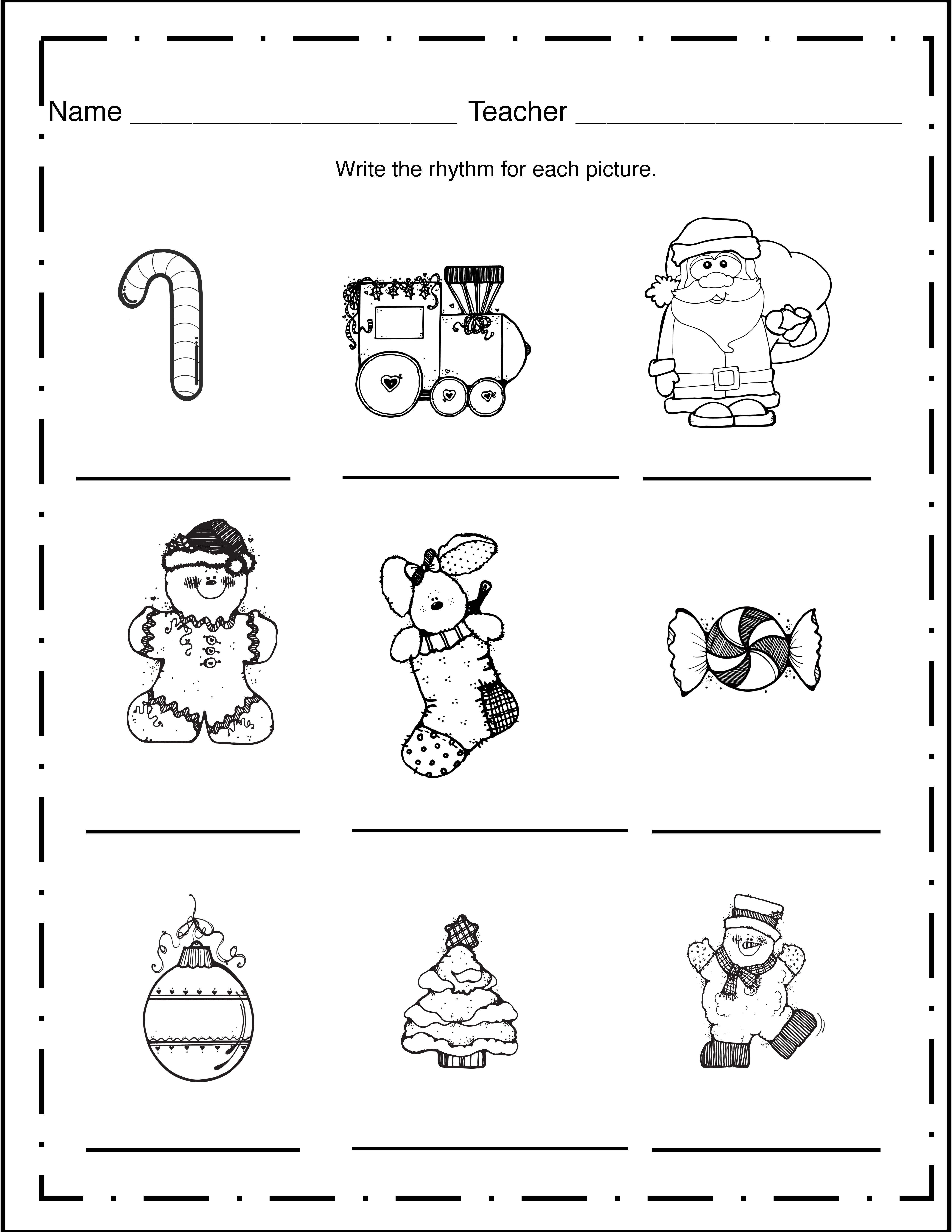Christmas Worksheet Freebie Elementary Music