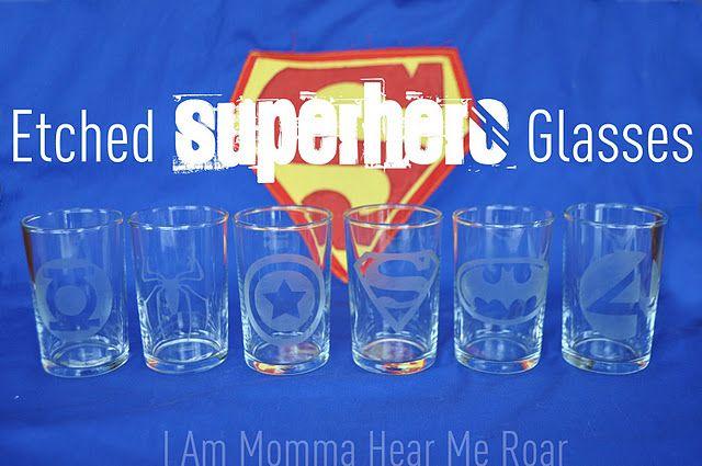 Etched Superhero Glasses
