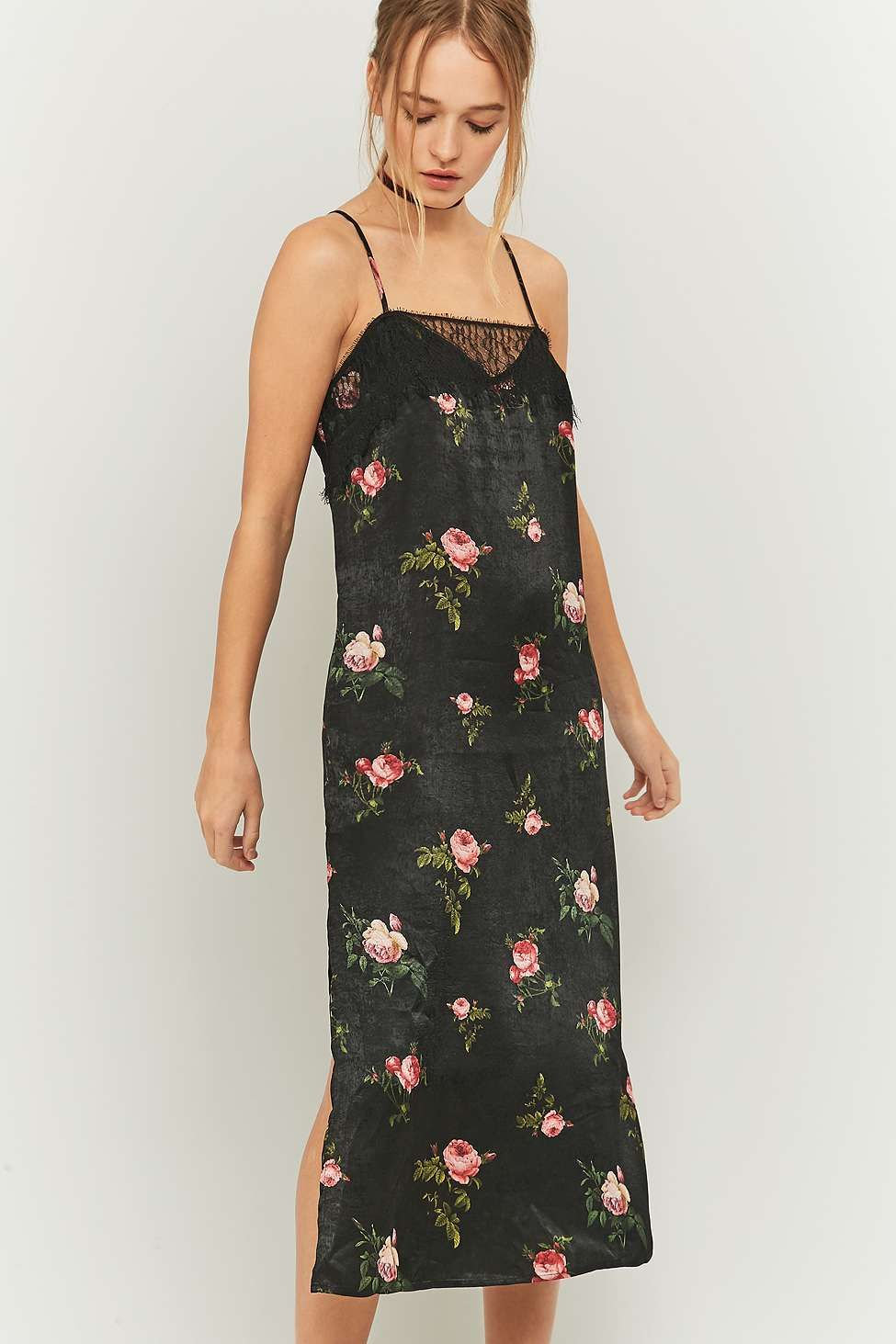 Pins And Needles Clothing Pins & Needles Floral And Lace Black Satin Midi Slip Dress  Black