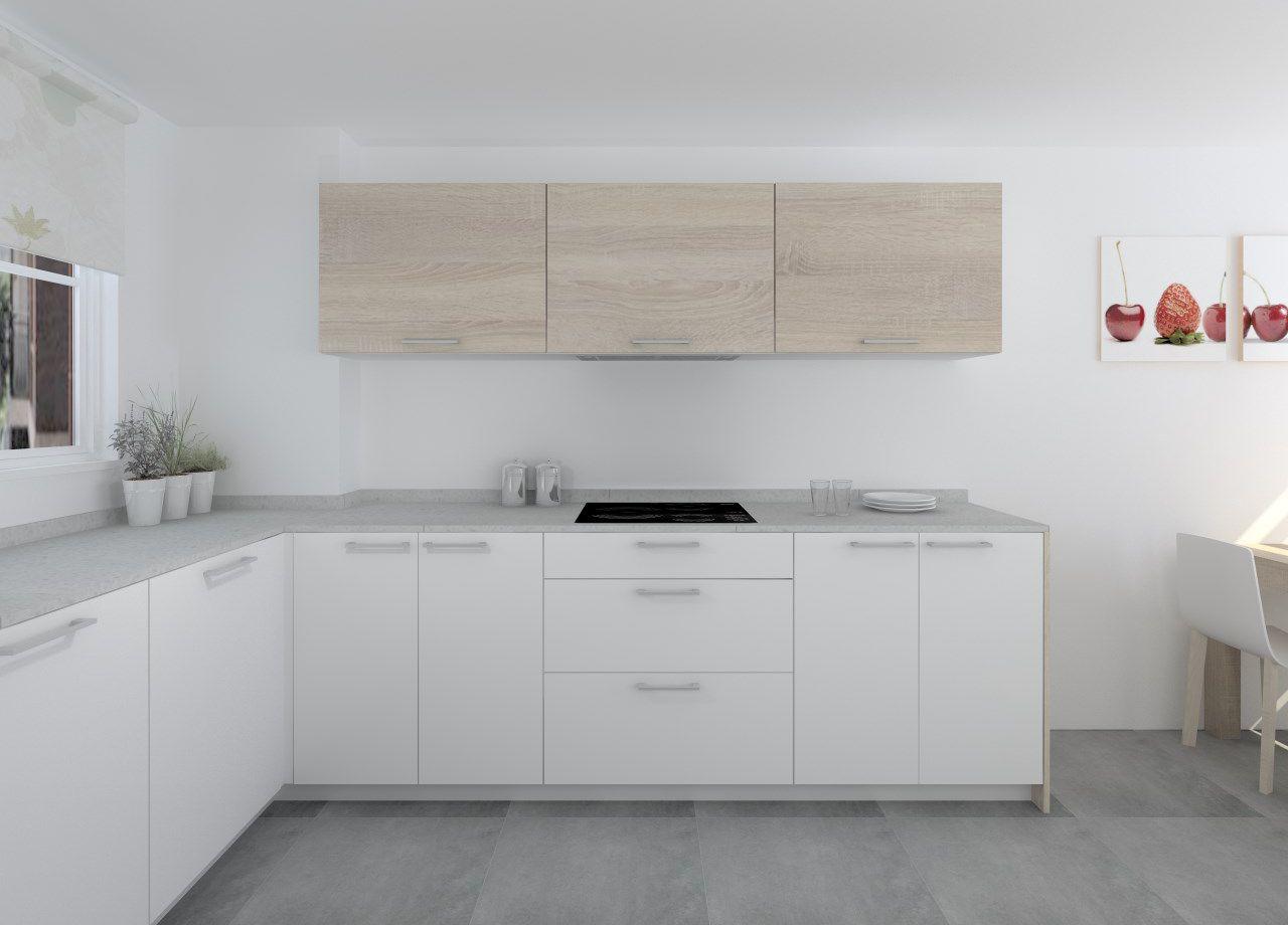 Cocina Santos Modelo Ariane Estratificado Blanco Roble Encimera Compac Gris Ceniza Diseno De Cocina Decoracion De Cocina Cocinas Pequenas