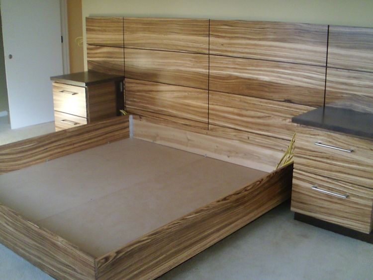 Zebra Wood Bed Frame Built In Night Stands With Walnut Tops