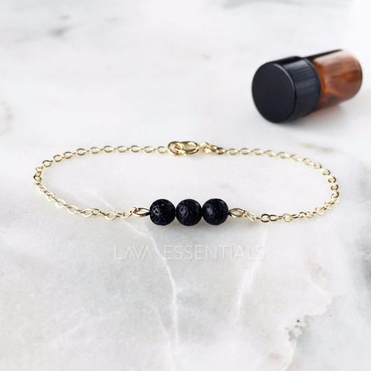 Dainty Triple Minimalist Essential Oil Diffuser Bracelet - Dainty 14K Gold Filled, Sterling Silver - Lava Essential Oils