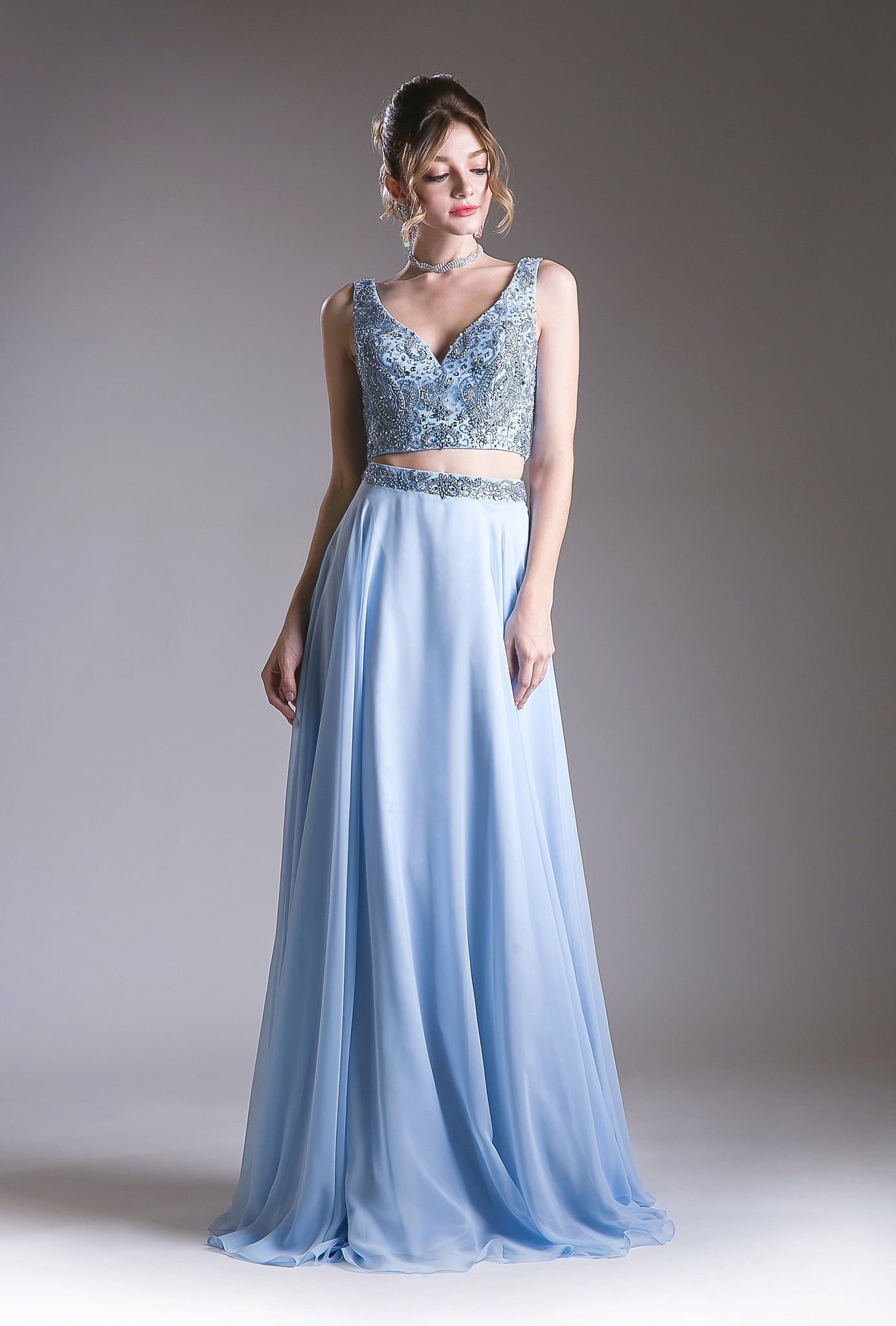Two piece long dress with floral beaded top by cinderella divine