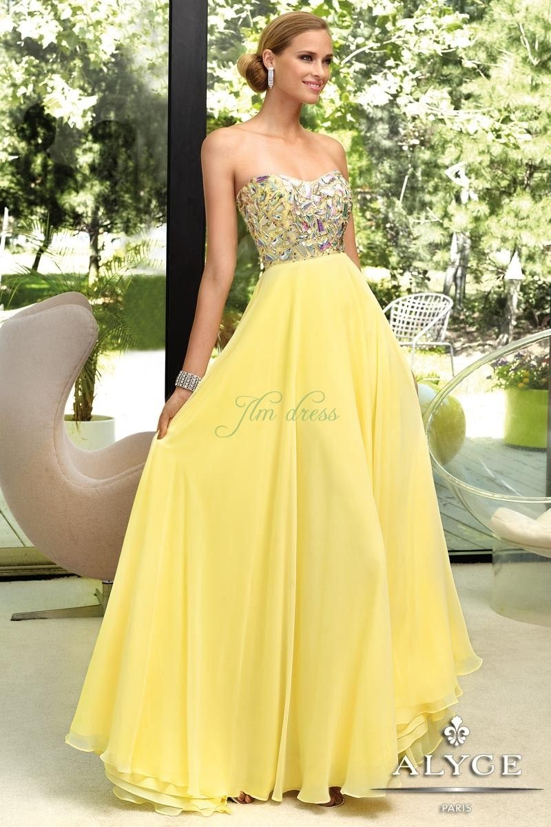 Yellow Evening Gowns_Evening Dresses_dressesss