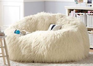 Enjoyable Large White Shaggy Faux Fur Long Fur Beanbag Cover Plush Squirreltailoven Fun Painted Chair Ideas Images Squirreltailovenorg