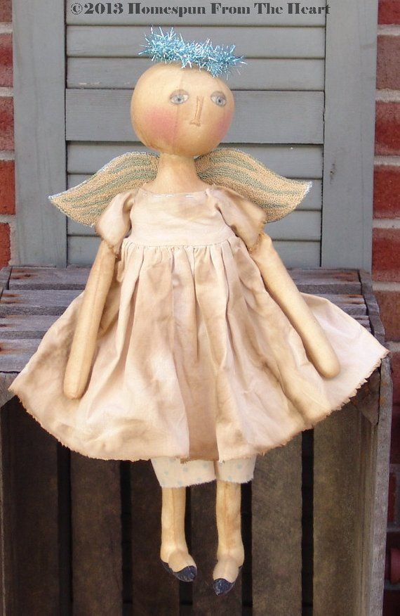 Primitive Angel Doll pattern, round head colonial doll, Punchneedle needlepunch pattern, cloth doll Angel Pattern, HFTH145