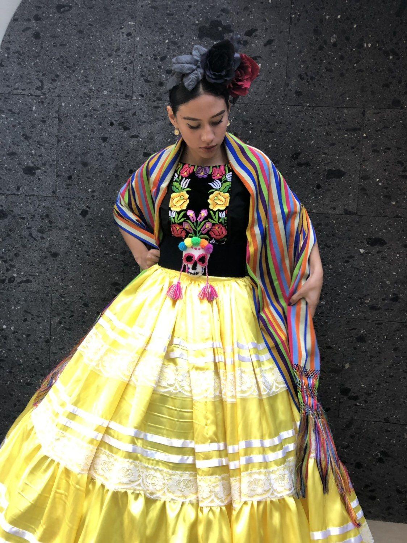 Mexican China Oaxaca Yellow Poblana Frida Kahlo Style Womans Etsy Frida Kahlo Style Womens Skirt Boho Hippie Dress [ 1500 x 1124 Pixel ]