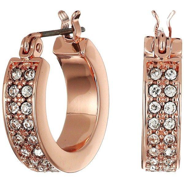 LAUREN Ralph Lauren Rose Palais Small Pave Hoop Earrings Crystal