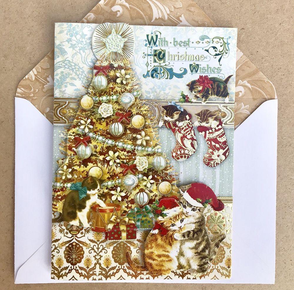 Punch Studio 6 Christmas Cards Golden Kittens 3D Dimensional Gold ...