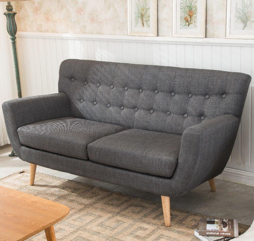 Stupendous Grey Sofa Furniture 3 Seater Retro Living Room Fabric Wood Home Interior And Landscaping Mentranervesignezvosmurscom