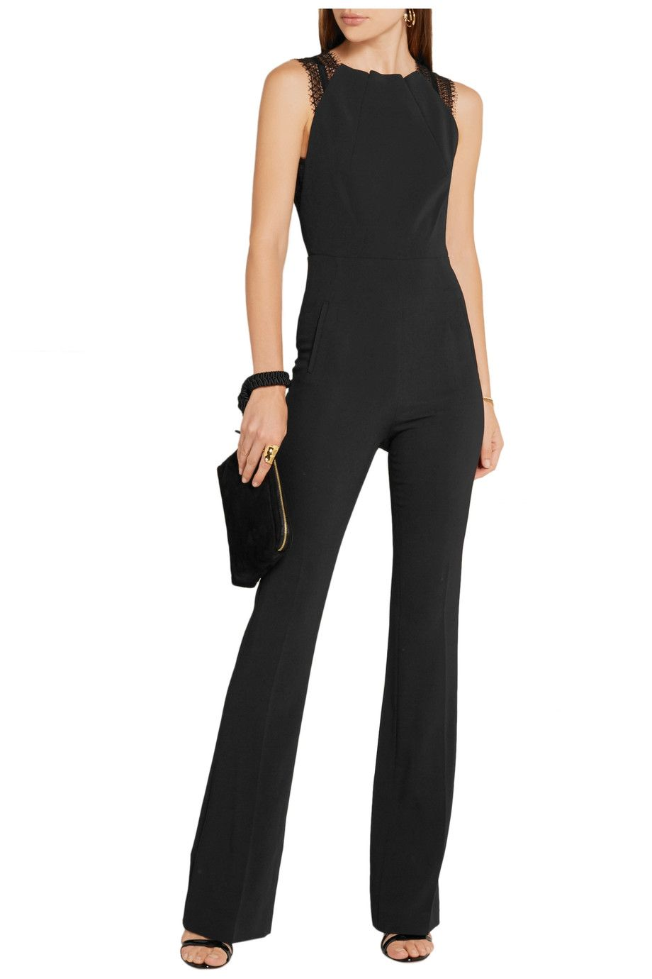 Clothing | Sale up to 70% off | THE OUTNET. Shop on-sale Roland Mouret  Cross lace-trimmed stretch-crepe jumpsuit.
