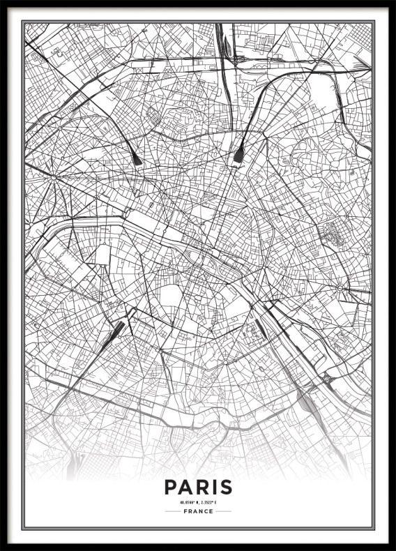 Tavla Poster Med Paris Karta Affisch Archiveseven Com