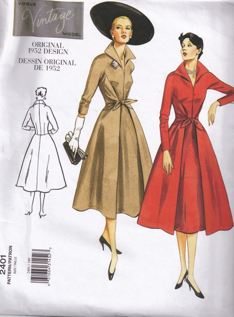 Sewing Pattern 1950s Vintage Styled Wrap Dress Pointed