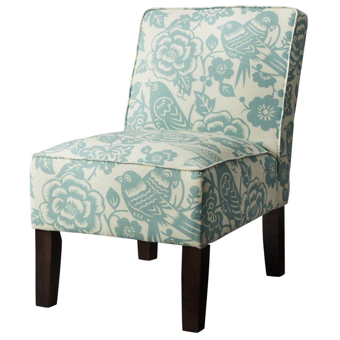 Burke Armless Slipper Chair   Blue Floral