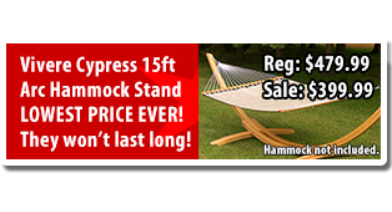 the vivere 15 ft wood arc hammock stand is crafted in beautiful cypress wood the