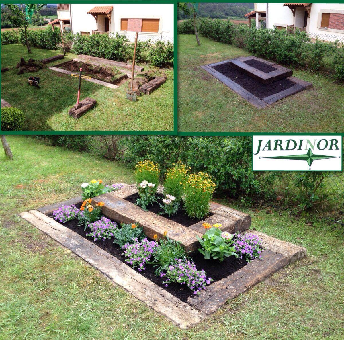 Construcci n de jardinera con traviesas de tren - Traviesas de tren para jardin ...