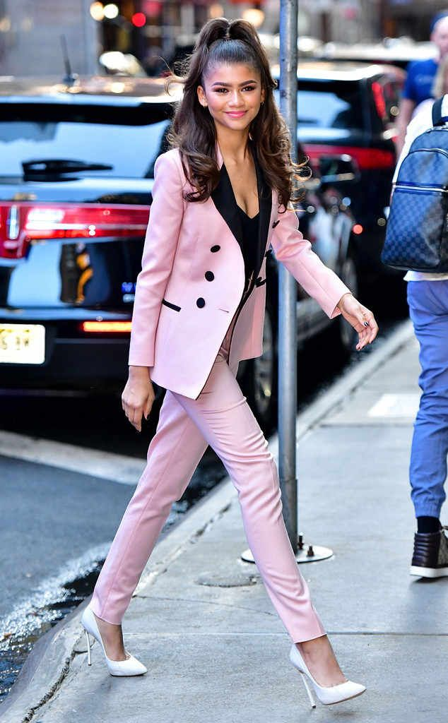 b01db3973964 Zendaya from The Big Picture: Today's Hot Photos Pink perfection! The  actress rocks a pantsuit on the streets of NYC.