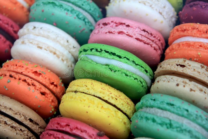 Macarons. French colorful macarons, with various colors and flavors ,