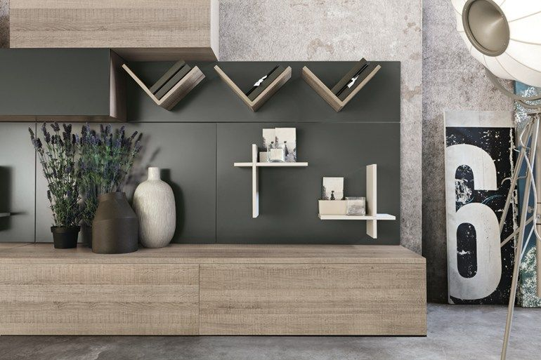 Mueble modular de pared composable de madera de estilo moderno
