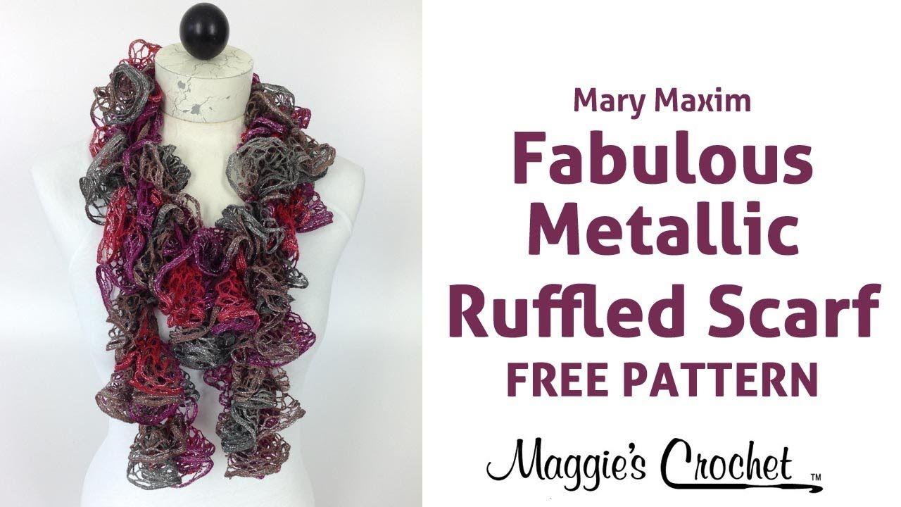 Crochet Ruffled Scarf Mary Maxim Metallic Fabulous Yarn - Right ...