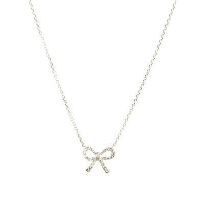 Diamond Mini Bow Necklace in White Gold #AnnaGray   http://www.annagrayaustin.com/diamond-mini-bow-necklace-in-white-gold/