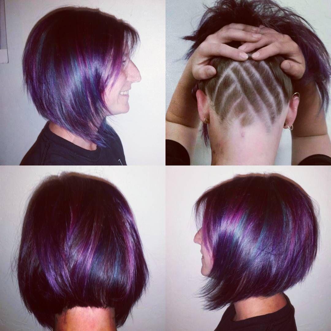 Having alot of fun with this cut and colour this evening!! #funhair #purplehair #tealhaur #rosehair #pravana #inspirehairdesign #sarahkrookhairstylist #ammoniafreecolour #ecosalon #greensalon #yyjhairstylist #yyjhair #undershave #undercut #hairdesign