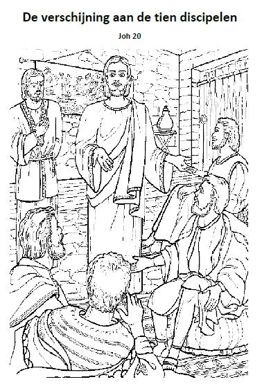 de verschijning aan de tien discipelen kleurplaten
