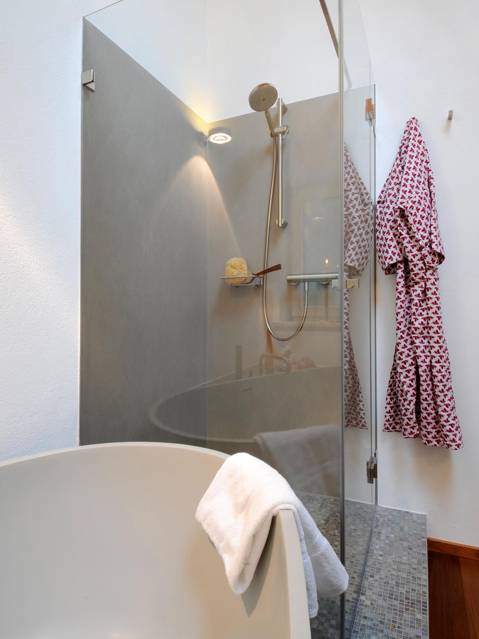 Dusche auf Podest mit Abtrennwand aus Glas | Badezimmer der Hans ...