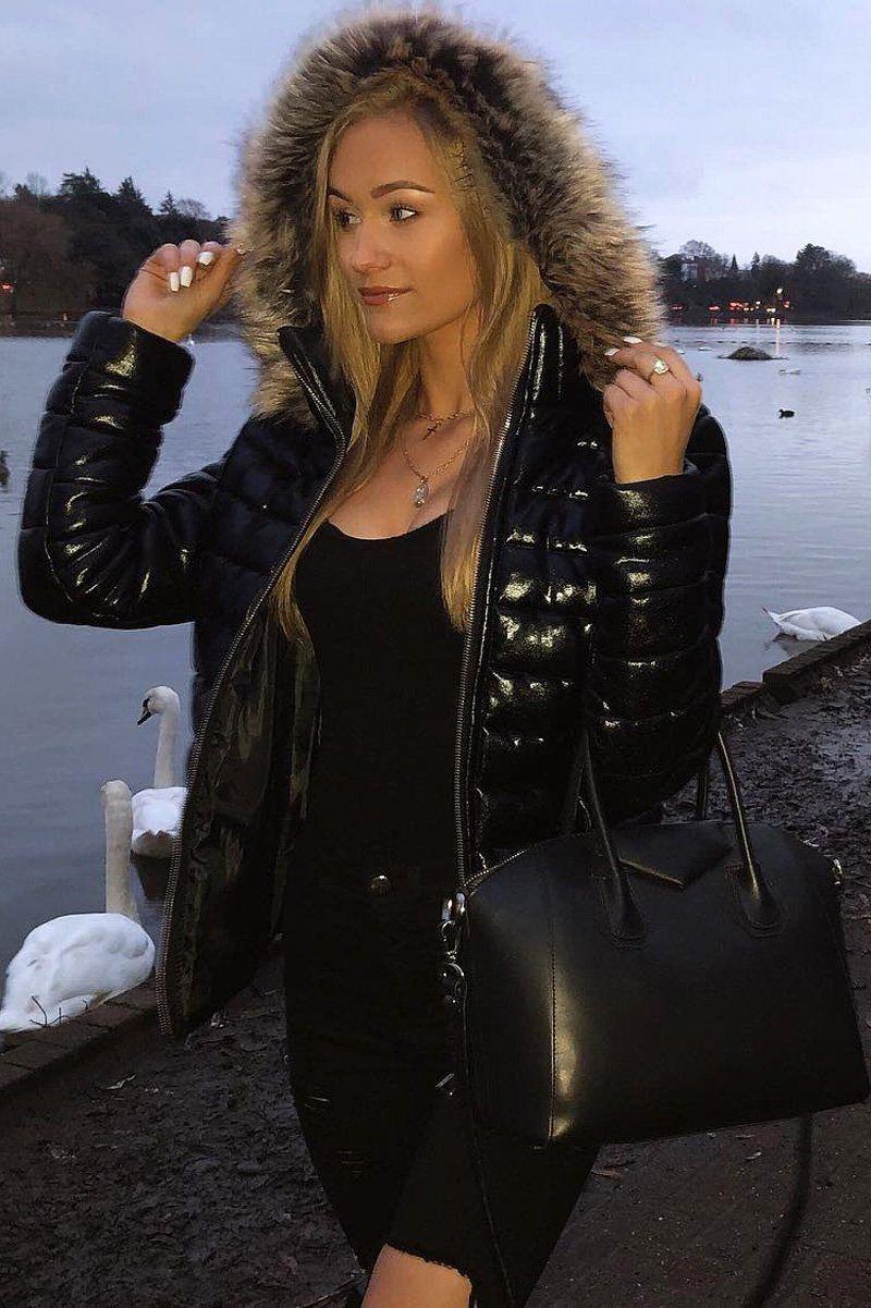 Black Wet Look Puffer Coat Soph