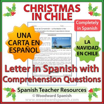 Christmas in Chile  Letter in Spanish with Worksheets