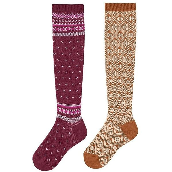 4918e0d9ad4 UNIQLO HEATTECH Knee High Socks (Fair Isle) - 2 Pairs (130 SEK) ❤ liked on  Polyvore featuring intimates