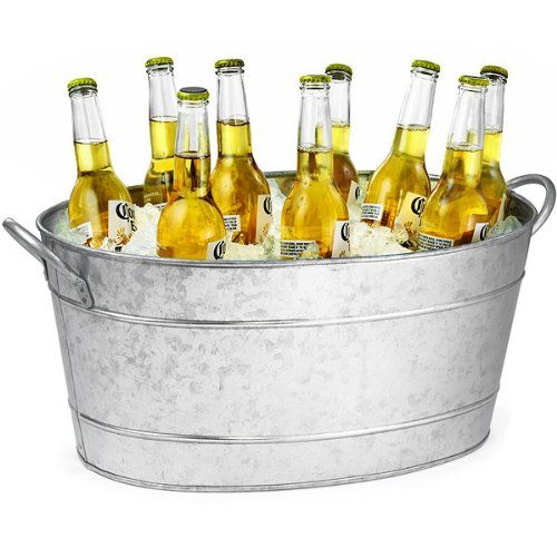 Galvanised Steel Oval Beverage Tub 21ltr Party Tub Drinks Pail