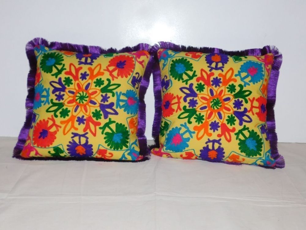 Cushion Cover 2pcs Indian Embroidery Cotton Throw Pillow Case Sofa