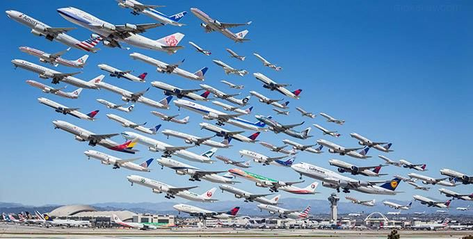 An image of [almost!] all the airline departures at LAX over 8 hours by photographer Mike Kelley.   Near the tower in the right corner? A few arrivals: Singapore, Air France, Malaysia, Air New Zealand and Emirates A380s and 772s