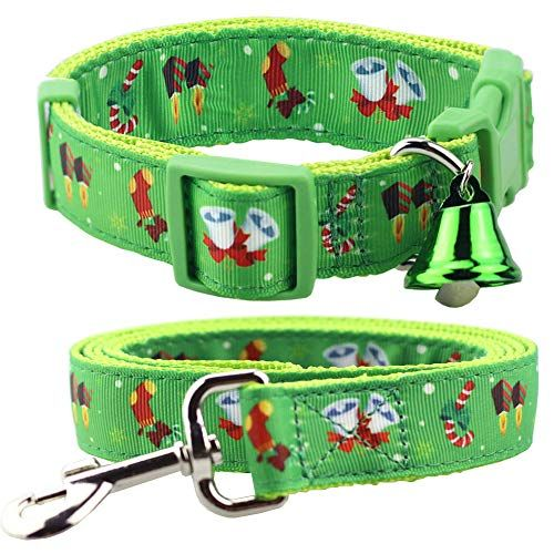 Bolbove Adjustable Pet Christmas Festive Collar And Leash Set With