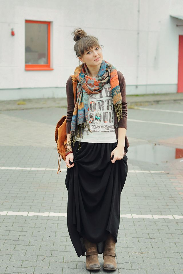 aab2b4667d long skirt with boots, scarf, hair, cute! | Style extras | Style ...