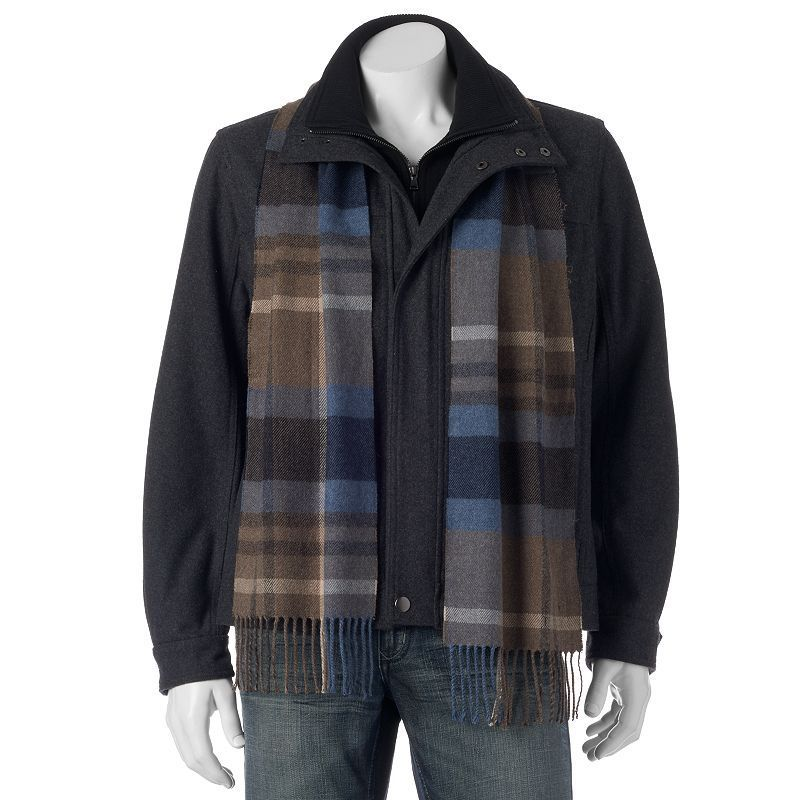Men's Towne Wool-Blend Hipster Jacket With Plaid Scarf, Size: