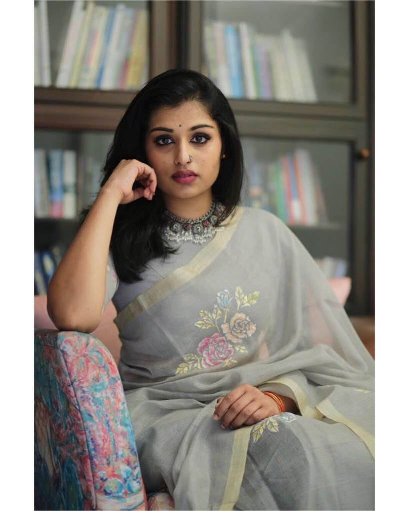 Happy to have collaborated with  designtanoti known for their hand painted  linen sarees which are subtle and classy Muse  piggysash Photographer ... 4243dbdf352