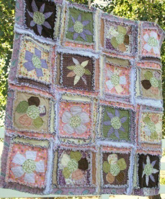 Flower Applique Quilt Pattern - Rag Quilt Pattern - Baby
