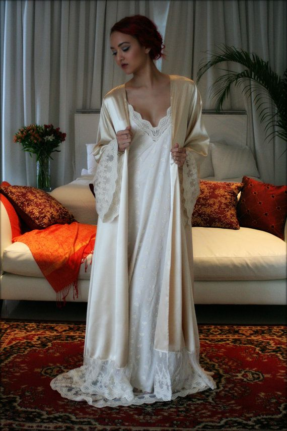 306fdcc33b Fiona Champagne Satin Bridal Wedding Robe Bridal Lingerie Wedding ...