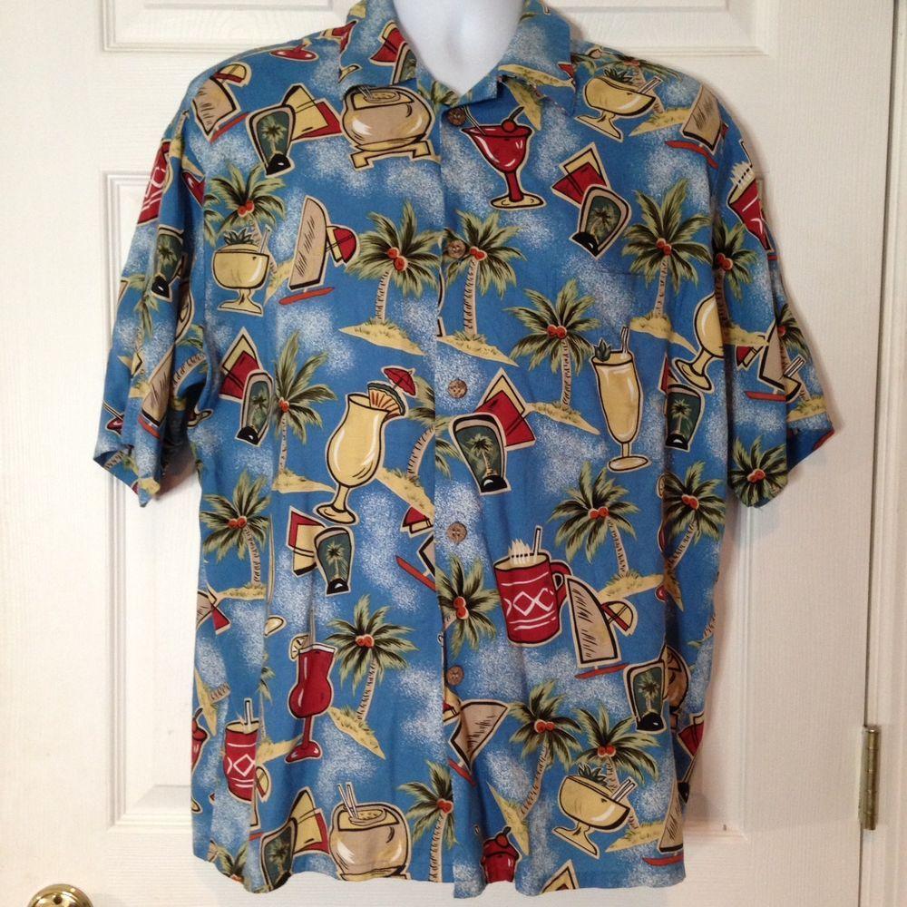 68226f7e Reyn Spooner Joe Kealoha Hawaiian Aloha L Camp Shirt Tropical Drinks Palms  Surf | eBay