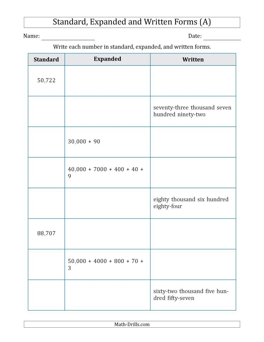 The Converting Between Standard Expanded And Written Forms 5 Digit U S U K Version A Mat Expanded Form Worksheets Numbers In Standard Form Expanded Form [ 1165 x 900 Pixel ]