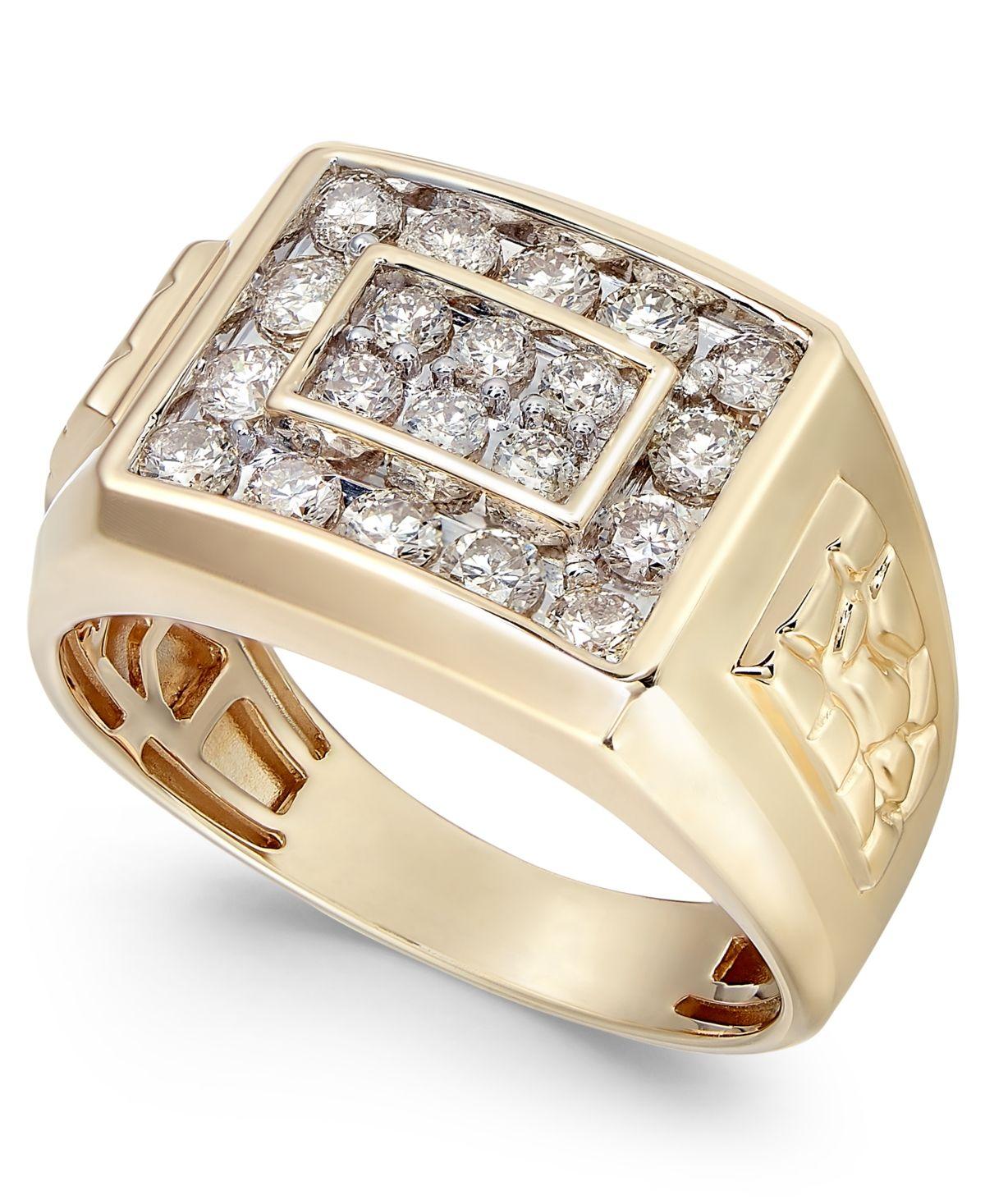 Macy's Men's Diamond Cluster Nugget Detail Ring (1 ct. t.w