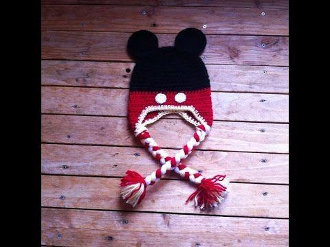 Como hacer un gorro fácil de Mickey Mouse a ganchillo, gancho, y ...