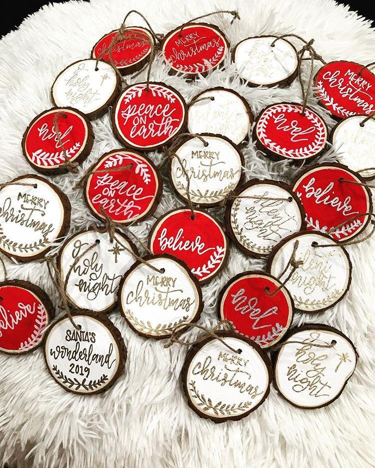 "Jenny Blaschke on Instagram: ""#woodenornaments #Christmas #Christmasornaments #rusticdecor #rusticChristmas #fauxcalligraphy #ornaments #handmadeornaments…"""