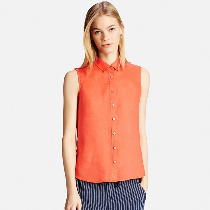 WOMEN PREMIUM LINEN SLEEVELESS SHIRT | UNIQLO