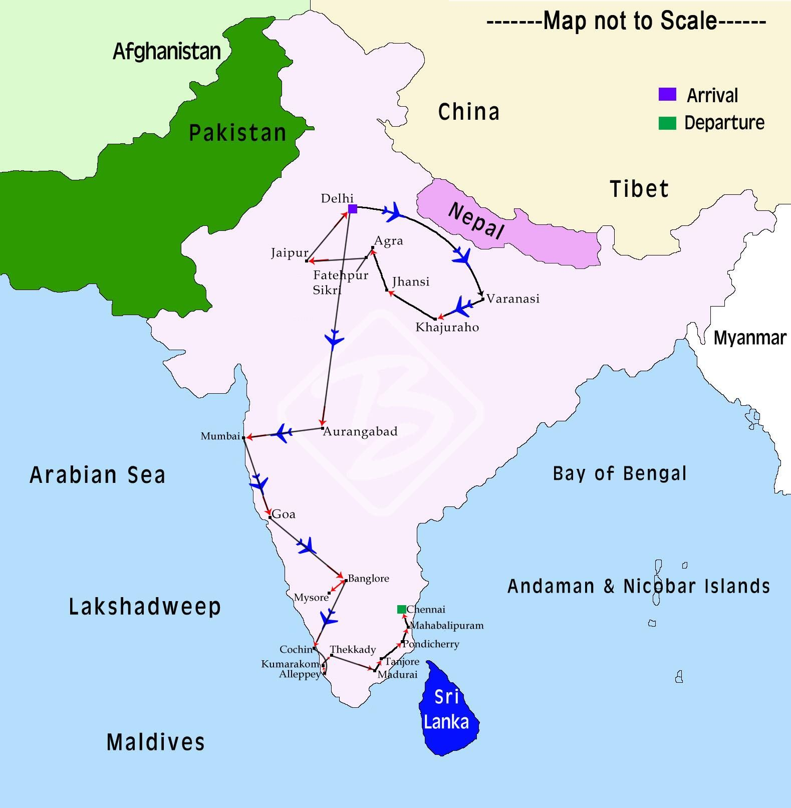 Classical india tour map india pinterest india tour south classical india tour map gumiabroncs Image collections