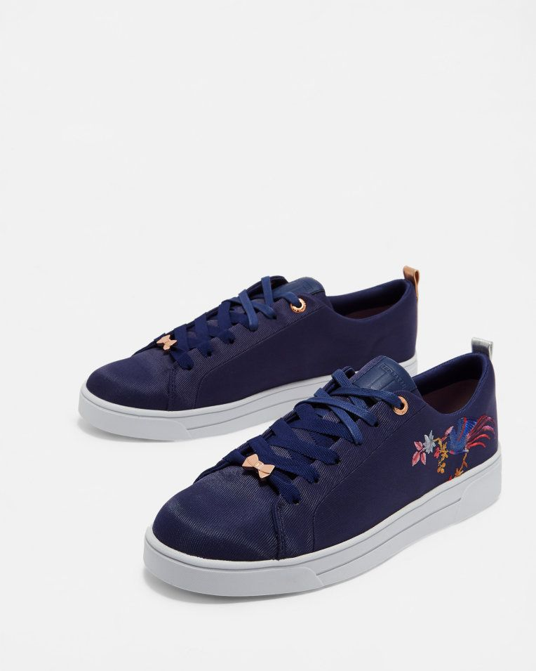 7abe3986a Embroidered tennis trainers - Navy
