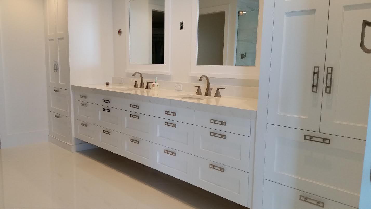 High Gloss Painted White 60 Sheen Bathroom Built Ins Quartz