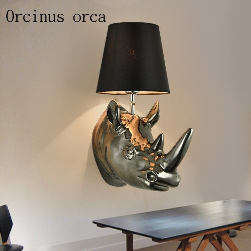 Aliexpress com buy american country rhino head wall lamp living room bedroom bar continental